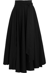 Tibi Obi Cotton Crepe Maxi Skirt Black