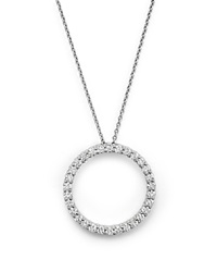 Roberto Coin 18K White Gold And Diamond Large Circle Necklace 16