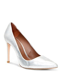 Donald J Pliner Pointed Pumps Phillo High Heel Silver