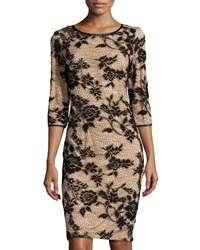 Chetta B Floral Design Lace Cocktail Dress Black Nude