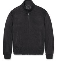 Brioni Leather Trimmed Checked Wool Bomber Jacket Gray