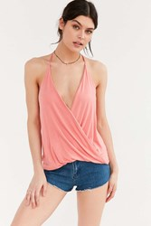 Silence And Noise Ava Surplice Tank Top Coral