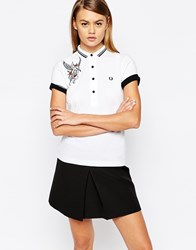 Fred Perry Amy Winehouse Collection Gingham Polo Shirt With Tattoo Embroidery White