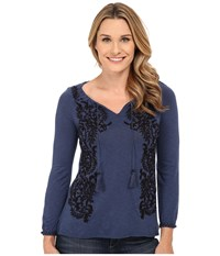Lucky Brand Embroidered Peasant Top Dark Vibrant Blue Women's T Shirt