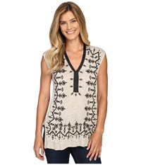 Lucky Brand Embroidered Shell Oatmeal Women's Clothing Brown
