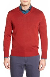 Men's Robert Talbott 'Pasadera' Wool And Silk Blend V Neck Sweater Redwood