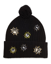 Markus Lupfer Jewel Flower Wool Beanie Black