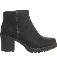Vagabond Grace Heeled Leather Chelsea Boots Black Canvas