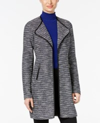 Jm Collection Petite Faux Leather Trim Tweed Jacket Only At Macy's Shimmer Stripe