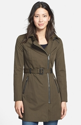 Soia And Kyo Asymmetrical Belted Trench Coat Military