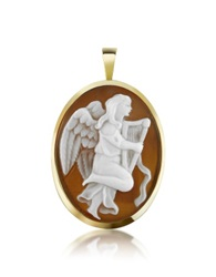 Del Gatto Angel With Lyre Sardonyx Cameo Pendant Pin Gold