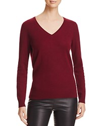 Bloomingdale's C By V Neck Cashmere Sweater Cabernet
