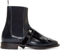 Thom Browne Navy Patent Leather Kiltie Boots