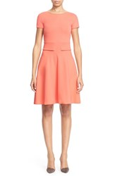 Armani Collezioni Women's Short Sleeve Milano Jersey Dress Orange