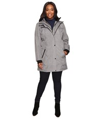 Jessica Simpson Plus Size Softshell With Bib And Faux Fur Collar Heather Grey Women's Coat Gray