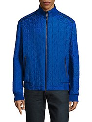 Brioni Reversible Quilted Silk Bomber Jacket Blue