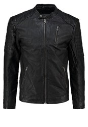 Jack And Jones Jjvrichard Slim Fit Leather Jacket Black