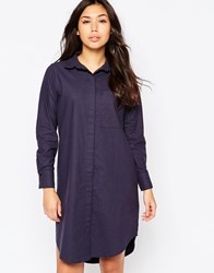 Native Youth Oversized Washed Cotton Shirt Dress Navy