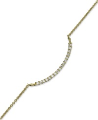 B. Brilliant 18K Gold Over Sterling Silver Anklet Cubic Zirconia Curved Bar Anklet 1 6 Ct. T.W.