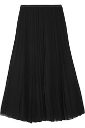 Donna Karan Pleated Stretch Silk Chiffon Midi Skirt Black
