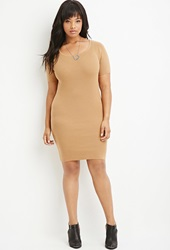 Forever 21 Plus Size Ribbed Sweater Dress Camel