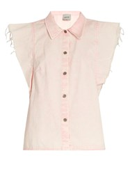 Rachel Comey Laurel Cap Sleeved Denim Top Pink
