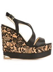 Paloma Barcelo Embroidered Cork 'Ophelie' Sandals Black