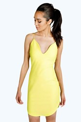 Boohoo Eva Plunge Neck Bodycon Dress Lime