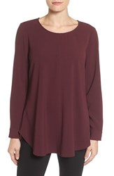 Pleione Women's Textured Crepe Swing Blouse Burgundy Stem