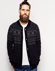Scotch And Soda Cardigan With Fairisle Pattern Blue