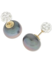 Macy's Dyed Black Cultured Freshwater Pearl 11Mm And Crystal Pave Ball Front And Back Earrings In 14K Gold