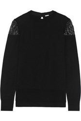 Adam By Adam Lippes Lace Trimmed Cotton And Cashmere Blend Sweater Black