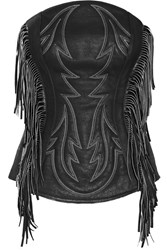 Alexander Wang Fringed Embroidered Pebbled Leather Bustier Top Black