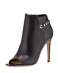 Maka Leather Chain Trim Bootie Nero Salvatore Ferragamo