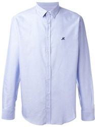 Msgm Embroidered Logo Button Down Shirt Blue
