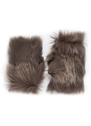Karl Donoghue Reversible Toscana Lambskin Shearling Fingerless Gloves Grey