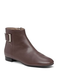 Delman Marie Leather Ankle Boots Brown