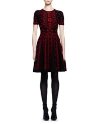 Alexander Mcqueen Short Sleeve Rose Jacquard A Line Dress Black Red