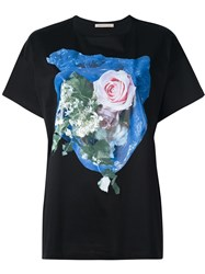Christopher Kane Rose Print T Shirt Black