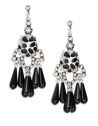 Gerard Yosca Oval Crystal Chandelier Earrings Silver