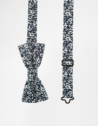 Noose And Monkey Printed Bow Tie Blue