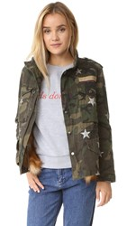 Jocelyn Green Camo Star Print Fox Trim Jacket