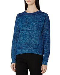 Reiss Richelle Metallic Sweater Blue Metallic