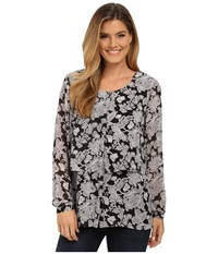 Miraclebody Jeans Delilah Chantilly Lace Print Blouse W Body Shaping Inner Shell Black Women's Blouse