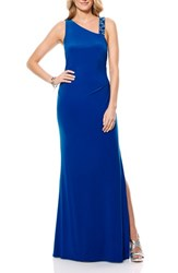 Women's Laundry By Shelli Segal Embellished Jersey Gown Vibrant Blue