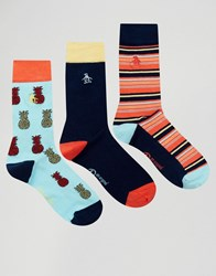 Original Penguin 3 Pack With Pinapple Prink Socks Navy
