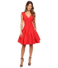 Zac Posen Classic Silk Faille A Line Dress Grenadine Women's Dress Red