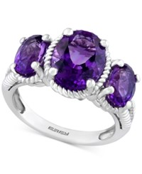 Effy Amethyst Three Stone Ring 3 1 2 Ct. T.W. In Sterling Silver Purple