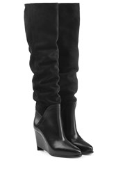 Maison Martin Margiela Suede And Leather Wedge Boots Black