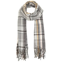 Miss Selfridge Check Fringe Scarf Grey